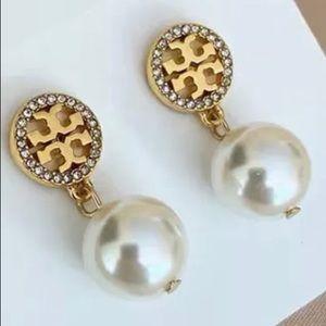 Tory Burch gold logo pearl drop earrings